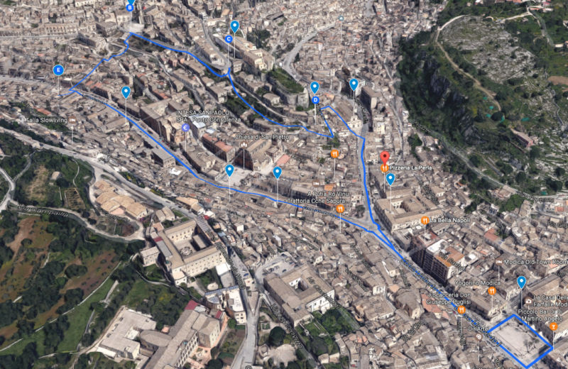 itinerary tourist city of modica